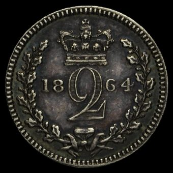 1864 Queen Victoria Young Head Silver Maundy Twopence Reverse