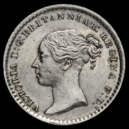 1868 Queen Victoria Young Head Silver Maundy Penny Obverse