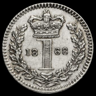 1868 Queen Victoria Young Head Silver Maundy Penny Reverse