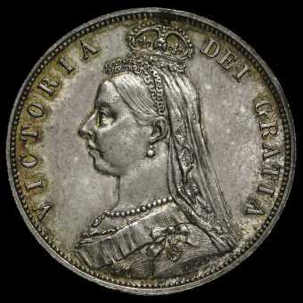 1887 Queen Victoria Jubilee Head Silver Half Crown Obverse