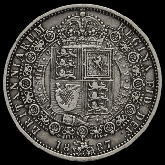 1887 Queen Victoria Jubilee Head Silver Half Crown Reverse
