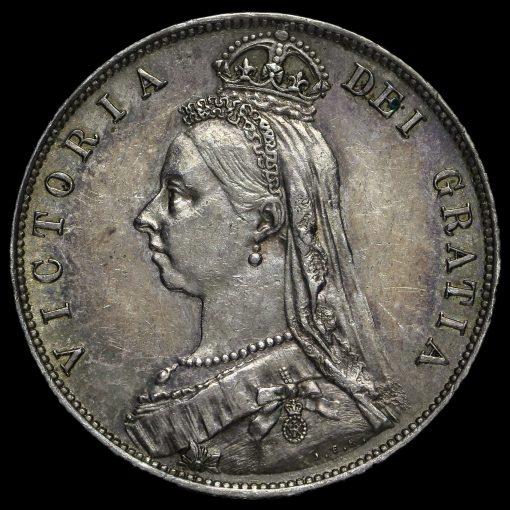 1888 Queen Victoria Jubilee HeadSilver Half Crown Obverse