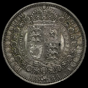 1888 Queen Victoria Jubilee Head Silver Half Crown Reverse