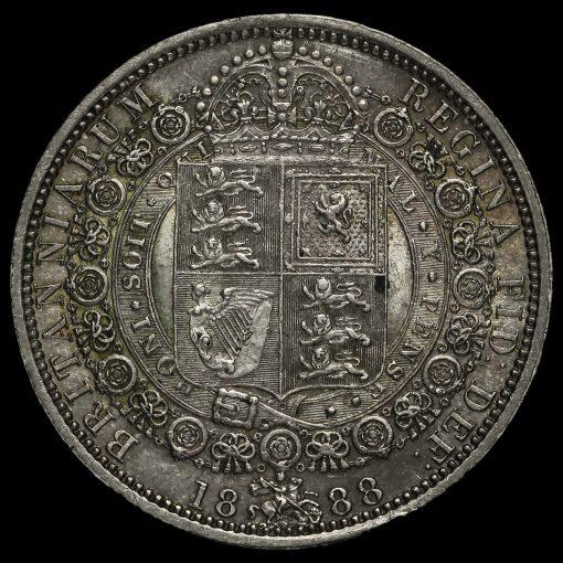 1888 Queen Victoria Jubilee HeadSilver Half Crown Reverse