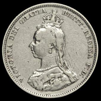 1889 Queen Victoria Jubilee Small Head Silver Shilling Obverse