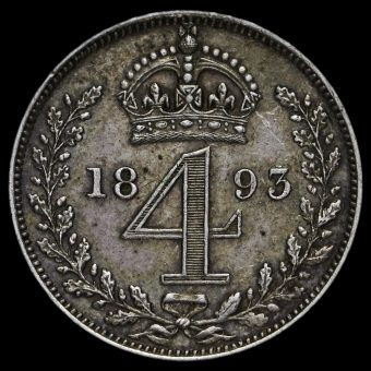 1893 Queen Victoria Veiled Head Silver Maundy Fourpence Reverse
