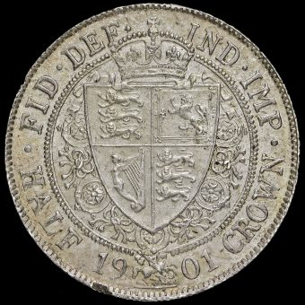1901 Queen Victoria Veiled Head Silver Half Crown Reverse