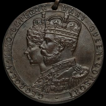 1911 George V Rhondda Urban District Council Coronation Bronze Medal Obverse