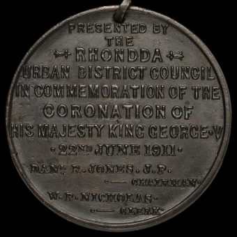 1911 George V Rhondda Urban District Council Coronation Bronze Medal Reverse