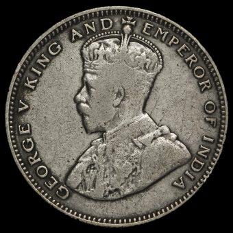 Straits Settlements 1926 George V Silver 20 Cents Obverse