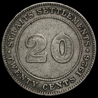 Straits Settlements 1926 George V Silver 20 Cents Reverse