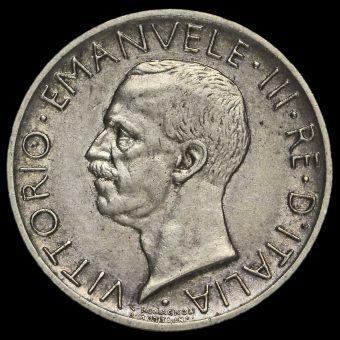 Italy 1927 Vittorio Emanuele III Silver 5 Lira Obverse