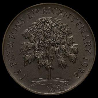 1928 Joseph Fry & Sons Ltd Bronze Bicentenary Medal Reverse