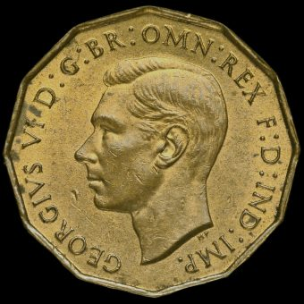 1937 George VI Brass Threepence Obverse
