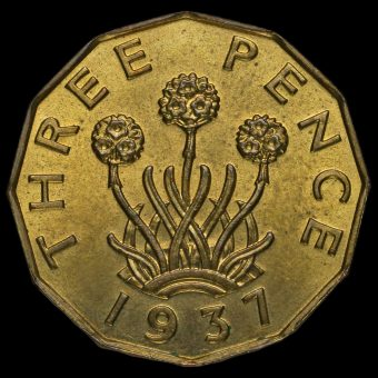 1937 George VI Brass Threepence Reverse