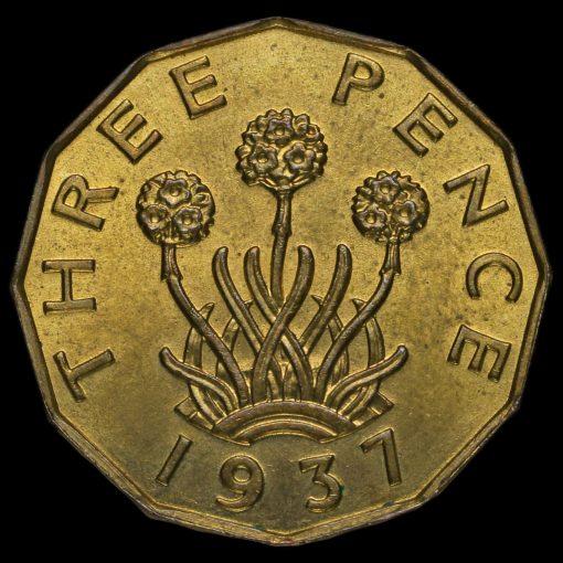 1937 George VI Brass Threepence Reverse