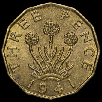 1941 George VI Brass Threepence Reverse