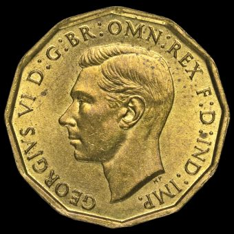 1942 George VI Brass Threepence Obverse