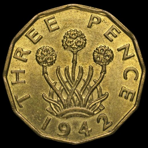 1942 George VI Brass Threepence Reverse