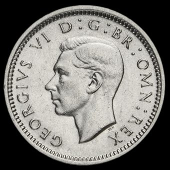 1944 George VI Silver Threepence Obverse