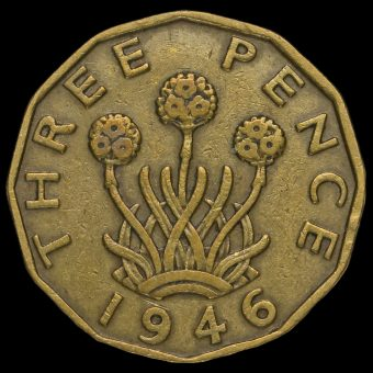 1946 George VI Brass Threepence Reverse