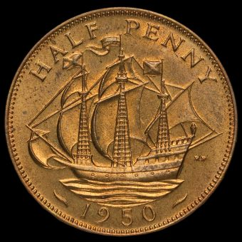 1950 George VI Bronze Proof Halfpenny Reverse