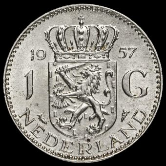 Netherlands 1957 Juliana Silver 1 Gulden Reverse
