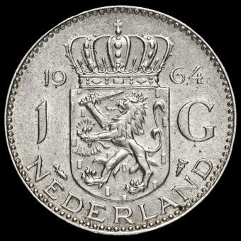 Netherlands 1964 Juliana Silver 1 Gulden Reverse