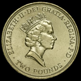 1989 Elizabeth II £2 Coin Tercentenary of The Bill Of Rights Obverse