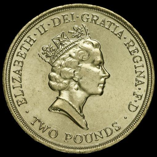 1989 Elizabeth II £2 Coin Tercentenary of The Bill Of Rights Obverse