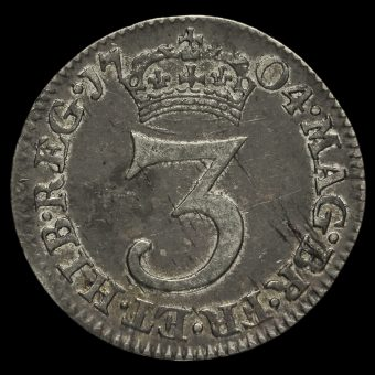 1704 Queen Anne Early Milled Silver Maundy Threepence Reverse