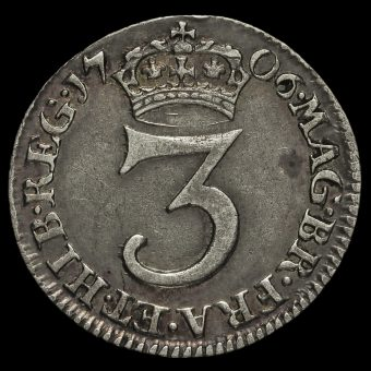 1706 Queen Anne Early Milled Silver Maundy Threepence Reverse
