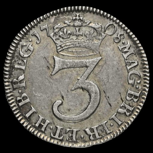 1708 Queen Anne Early Milled Silver Maundy Threepence Reverse