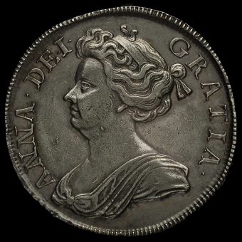 1713 Queen Anne Early Milled Silver Half Crown Obverse
