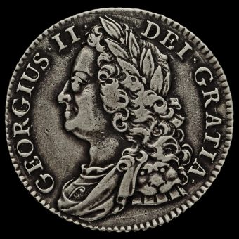 1743 George II Early Milled Silver Shilling Obverse