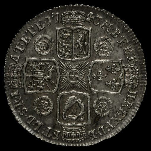 1743 George II Early Milled Silver Shilling Reverse