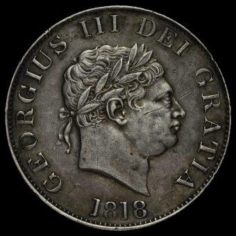 1818 George III Milled Silver Half Crown Obverse