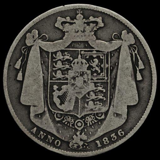 1836 William IV Milled Silver Half Crown Reverse