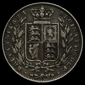 1845 Queen Victoria Young Head Silver Half Crown Reverse