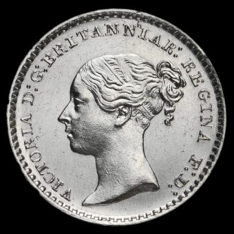 1849 Queen Victoria Young Head Silver Maundy Penny Obverse