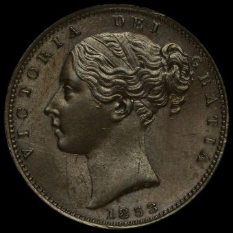 1853 Queen Victoria Young Head Copper Farthing Obverse