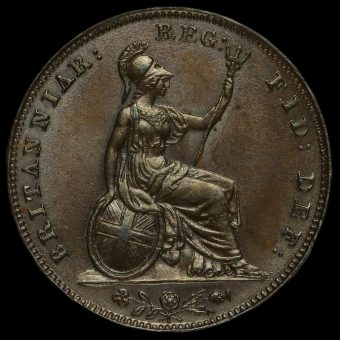 1853 Queen Victoria Young Head Copper Farthing Reverse