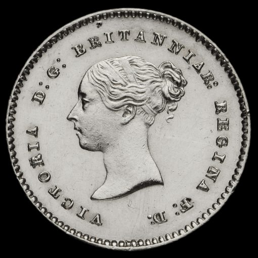 1857 Queen Victoria Young Head Silver Maundy Twopence Obverse