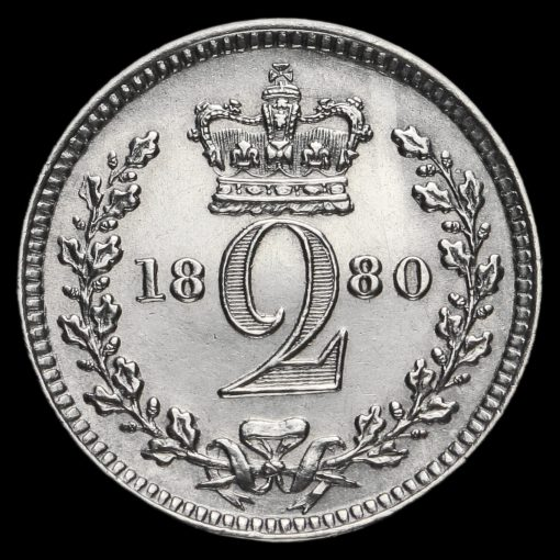 1880 Queen Victoria Young Head Silver Maundy Twopence Reverse