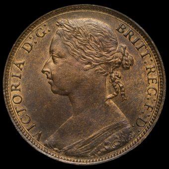 1881 H Queen Victoria Bun Head Penny Obverse