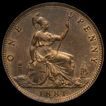 1881 H Queen Victoria Bun Head Penny Reverse