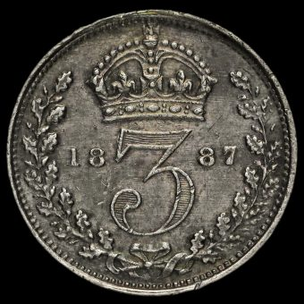 1887 Queen Victoria Jubilee Head Silver Threepence Reverse
