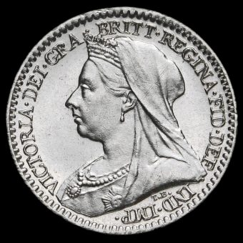 1897 Queen Victoria Veiled Head Silver Maundy Penny Obverse