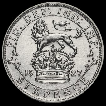 1927 George V Silver Sixpence Reverse