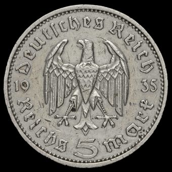Germany 1935 Silver 5 Reichsmark Obverse